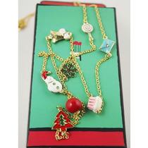 Super Dinísimo Collar En Color Oro Con Dijes Para Navidad.