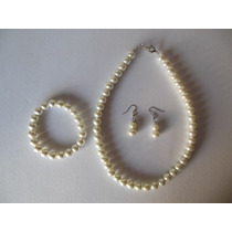 Collar De Perlas Simil Con Aros Y Pulsera