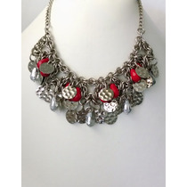Collar Tejido Medieval Con Hojuelas Y Cristales Combinados