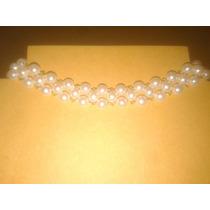 Gargantilla Perlas Color Blanco 3 Vueltas (largo 36 Cm)
