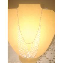Gargantilla Plateada Perlas Blancas (largo 45.5 Cm)