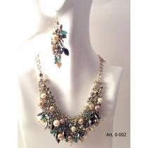 Colgante Y Aros Con Perlas Y Pedrería. Ideal Para Fiestas