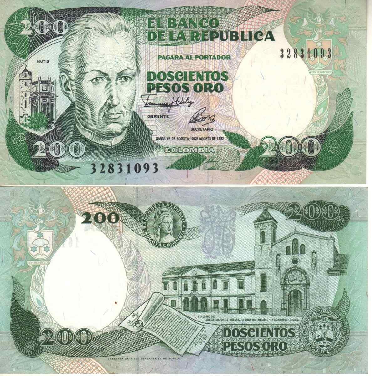 Billetes de Doscientos Pesos Colombia Billete de 200 Pesos