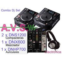 Denon S 1200 Compacteras + Mixer + Auriculares