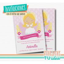 Comunión Nena - Estampita Para Imprimir Nenita Rubia