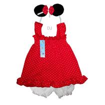 Conjunto Minnie Beba Algodon 3 Piezas Vestido Bombach Vincha