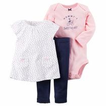 Carters Conjunto Nena Set 3 Piezas ,bluza, Body, Pantalon