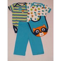 Set 4 Piezas Regalo Para Bebe Calza Babero Body Pantalon