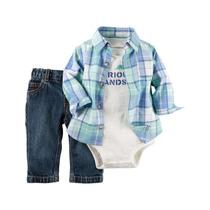 Set 3 Piezas Carters Camisa, Pantalón Jeans Y Body Man Corta