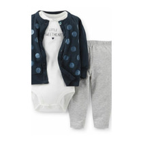 Exclusivo Carters Set 3 Piezas Cardigan Lana Body Pantalón