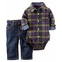 Carters Set 2p De Jean Y Camisa Tipo Body Cuadrille Plaid