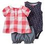 Carters Set 3 Piezas Bebe Niña Nena Short Camisa Body 3m