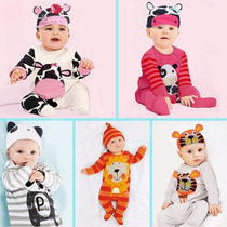 Set Conjunto 3 Piezas De Animales. 2 Bodys Enteritos Y Gorro