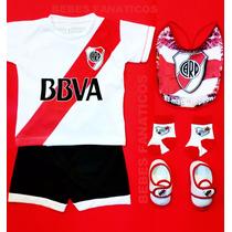 Kit Con Nombre Bebe River Camiseta+babero+escarpines Boca