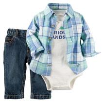 Set 3 Piezas Carters Pantalon, Body Y Camisa. Imp. Usa