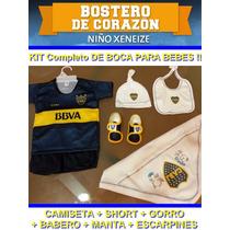 Kit Camiseta+short+babero+manta+escarpines Futbol Boca Bebe