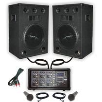 Combo Consola Potenciada Usb 300w 2 Bafles 15 + 2 Microfonos