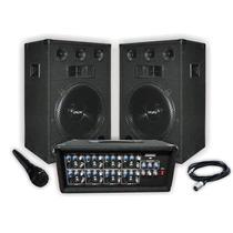 Combo Consola 9 Canales 600w Peak + 2 Bafles 12 + Microfono