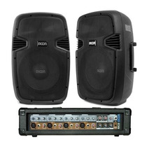 Combo 2 Bafles 250 W+consola 4 Ch-moon-alquiler Audiofer