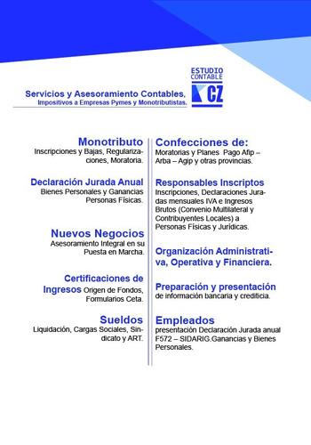 Contador Publico. Servicios Contables E Impositivos