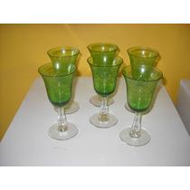 Antiguo Juego De 6 Copas De Cristal Tallado Verde