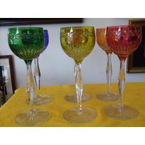 Copas De Color, En Cristal Tallado
