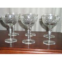 497- Juego De 6 Copas Talladas Champagne