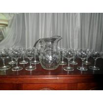 277- Juego De Jarra Y 11 Copas De Champagne Talladas