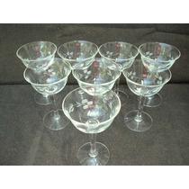 1925 B- 8 Hermosas Copas De Cristal Tallado Para Champagne
