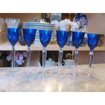 6 Copines Copas Cristal Tallado Azul Licor Unicas!
