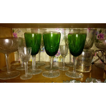 Copas De Cristal Antiguas Talladas Verdes Y Transparentes