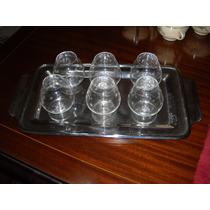 Hermoso Juego De Cognac, 6 Copas De Cristal + Bandeja Acero