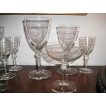940- Juego Copas Talladas Agua Vino Champagne Licor Art Deco