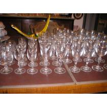 600-juego De Copas Cristal De Bohemia Agua Vino Licor Cognac
