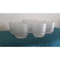Copas Whisky 5 + 1 Hielera Antiguas De Cristal Opaco