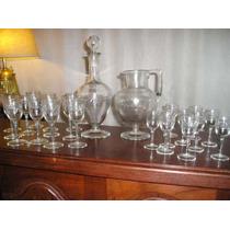 839- Juego De Jarra, Botellon Y 22 Copas Art Deco