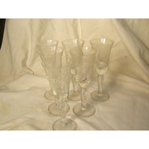 Antiguas Copas Pequeñas - Copitas Cristal Tallado