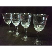 Antiguo Juego 4 Copas Cristal Tallado De Agua Vino (156f)