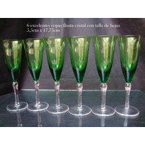 Juego Copas Flauta (6) Cristal Tallado De Hojas Vino Blanco