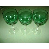 Copas De Cristal De Color Verde, Buen Estado