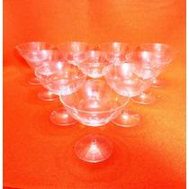 Juego De Copas Champagne (10) Talladas Con Lineas Verticales