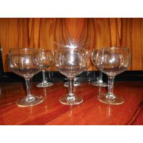6 Antiguas Copas Vino Talladas (ángela)