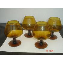 4 Copas De Coñac Lisas Color Caramelo
