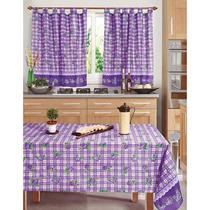 Combo Cortinas 2 Paños + Mantel Linea Iris Cocina Comedor