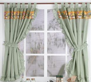 Cortinas de cocina c presillas volados y agarradera - Tela para cortinas cocina ...