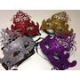 4 Mascaras Venecianas Rigidas Con Glitter Carnaval Carioca