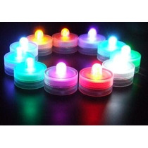 Velas Luminosas A Leds Multicolor Sumergibles Pack X 12 U