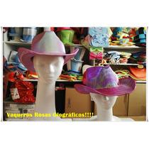 Sombrero Gorro Vaquero Rosa Tornasolados - Cotillón !!!