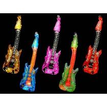 10 Globos Guitarra Metalizados Cotillon Inflable Para Rock