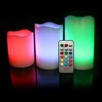 Set X 3 Velas Electronicas Luminosas A Led A Control Remoto